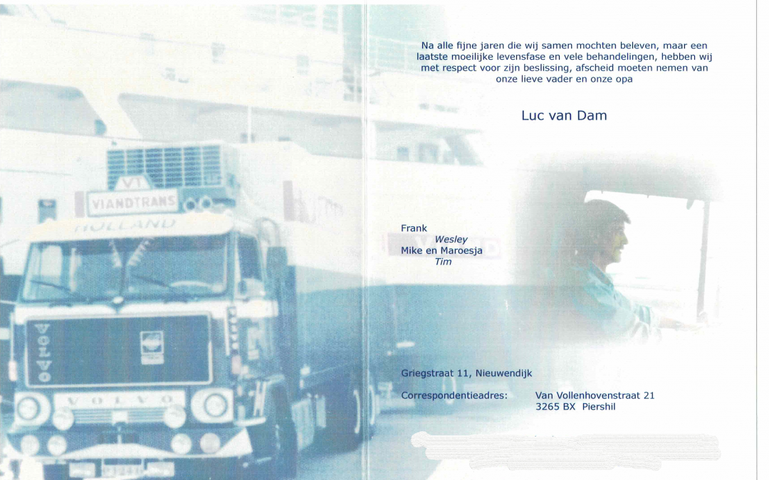 overlijden van Luc van Dam